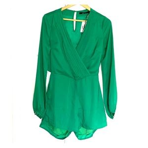 Brand new green backless romper